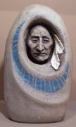Native American Ceramics - White Feathers and Turquoise by Gaylon Dingler