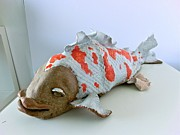 Orange Ceramics Originals - White fish with orange spots by Roger Leighton