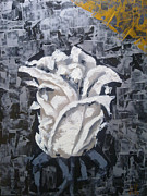 Oil Mixed Media Metal Prints - White flower Metal Print by Lyubomir Kanelov
