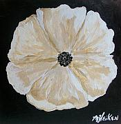 Modern Painting Originals - White flower on Black by Marsha Heiken