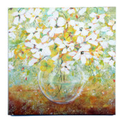 Sphere Paintings - White Flowers by Lynda McLaughlin