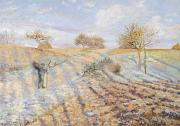 Winter Scenes Rural Scenes Prints - White Frost Print by Camille Pissarro