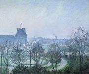 White Painting Metal Prints - White Frost Jardin des Tuileries Metal Print by Camille Pissarro