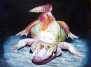 Alligator Paintings - White Gator by Maria Barry