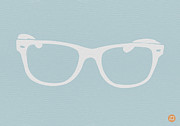 Midcentury Digital Art Framed Prints - White Glasses Framed Print by Irina  March