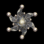 Jewellery Digital Art Prints - White Gold and Pearls Print by Hakon Soreide