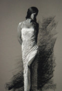 Shoulder Pastels Originals - White Gown by Sandra Jones