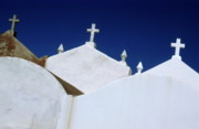 Sami Sarkis Prints - White gravestones in the Marine Cemetery in Bonifacio Print by Sami Sarkis