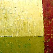 Textural Paintings - White Green and Red by Michelle Calkins