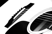 Sleek Prints - White Guitar 10 Print by Andee Photography