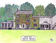 Hall Drawings Prints - White Hall Back View Print by Frederic Kohli