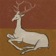 Iron Oxide Paintings - White Hart by Sophy White