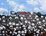 Southern Plantation Paintings - White Harvest by Cynara Shelton