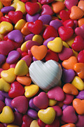 White Photo Framed Prints - White heart candy Framed Print by Garry Gay