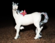 Toy Animals Prints - White Horse Print by Amanda Eberly-Kudamik