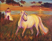Suzanne  Marie Leclair - White Horse by Lighthouse