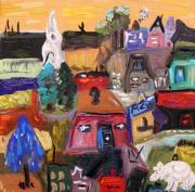Outsider Art Paintings - White Horse in the Village Field by Mary Carol Williams