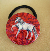Horse Art Jewelry - White horse ponytail holder by Connie Owens