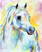 Thoroughbred Race Paintings - White Horse Portrait by Christy  Freeman
