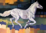 Animals Tapestries Textiles Originals - White Horse2 by Farhan Abouassali