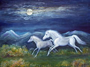 Nature Scene With Moon Painting Posters - White Horses in Moonlight Poster by Maureen Ida Farley