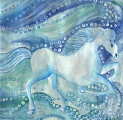 Sue Burgess Paintings - White Horses on the Sea by Sushila Burgess