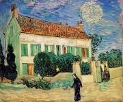 White Painting Metal Prints - White House at Night Metal Print by Vincent Van Gogh