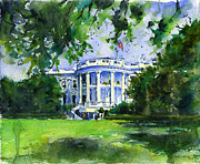 Washington Dc Paintings - White House by John D Benson