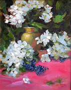 Life Framed Prints Painting Originals - White Hydrangea by Chris  Saper