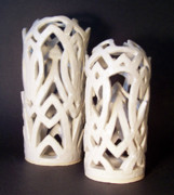 Sculpture Ceramics Metal Prints - White Interlaced Sculptures Metal Print by Carolyn Coffey Wallace