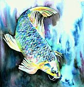 Koi Painting Posters - White Japanese Carp Poster by Christy  Freeman