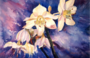 Puerto Rico Paintings - White Lillies by Estela Robles