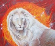 The Sun God Painting Posters - White Lion Sun God Poster by Silvia  Duran