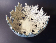Stoneware Ceramics Prints - White Maple Leaf Bowl Print by Carolyn Coffey Wallace