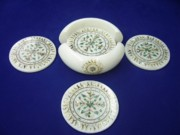 Jewellery Glass Art Originals - white marble Inlay Coaster sets by Mohammad Azhar