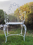 Lawn Chair Posters - White Metal Garden Chair Poster by Noam Armonn