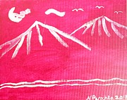 Mountain Bike Paintings - White Mountains by Natalee Parochka