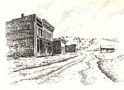 Towns Drawings - White Oaks Ghost Town New Mexico by Kevin Heaney
