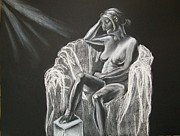 Nude Woman Charcoal Drawing Framed Prints - White on Black Nude Framed Print by Leahblair Jackson
