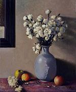 Flowers In White Vase Posters - White on White with fruit Poster by David Olander