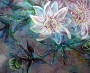 Passionflower Painting Prints - White Passion Print by Ashley Kujan