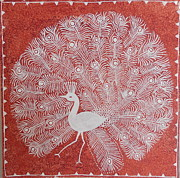 Handmade Paper Paintings - White Peacock Dance- Original Warli Painting by Aboli Salunkhe