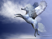 Mount Digital Art - White Pegasus by Corey Ford