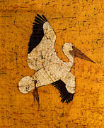 Santa Cruz Watercolor Artists Tapestries - Textiles Prints - White Pelican Print by Alexandra  Sanders