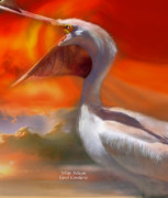 Giclee Mixed Media - White Pelican by Carol Cavalaris