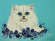 Bobcat Paintings - White Persian in Pansy Patch by Nadine and Bob Johnston