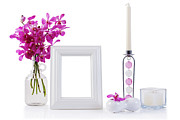 Flower Design Posters - White Picture Frame In Decoration Poster by Atiketta Sangasaeng