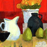 Fruit Still Life Mixed Media Posters - White Pitcher Poster by Laurie Breen