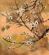 Plum Blossoms Paintings - White Plum Blossoms with Pine Tree by Eileen  Fong