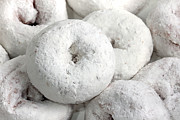 Doughnuts Photo Prints - White Powdered Sugar Doughnuts Print by Tracie Kaska